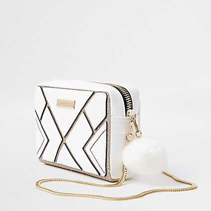White cutabout boxy cross body bag
