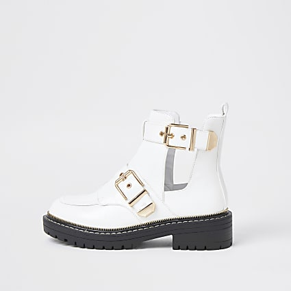 White cutout buckled boots