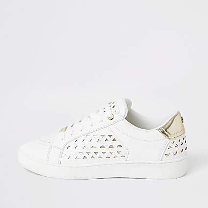 White cutout lace-up trainers