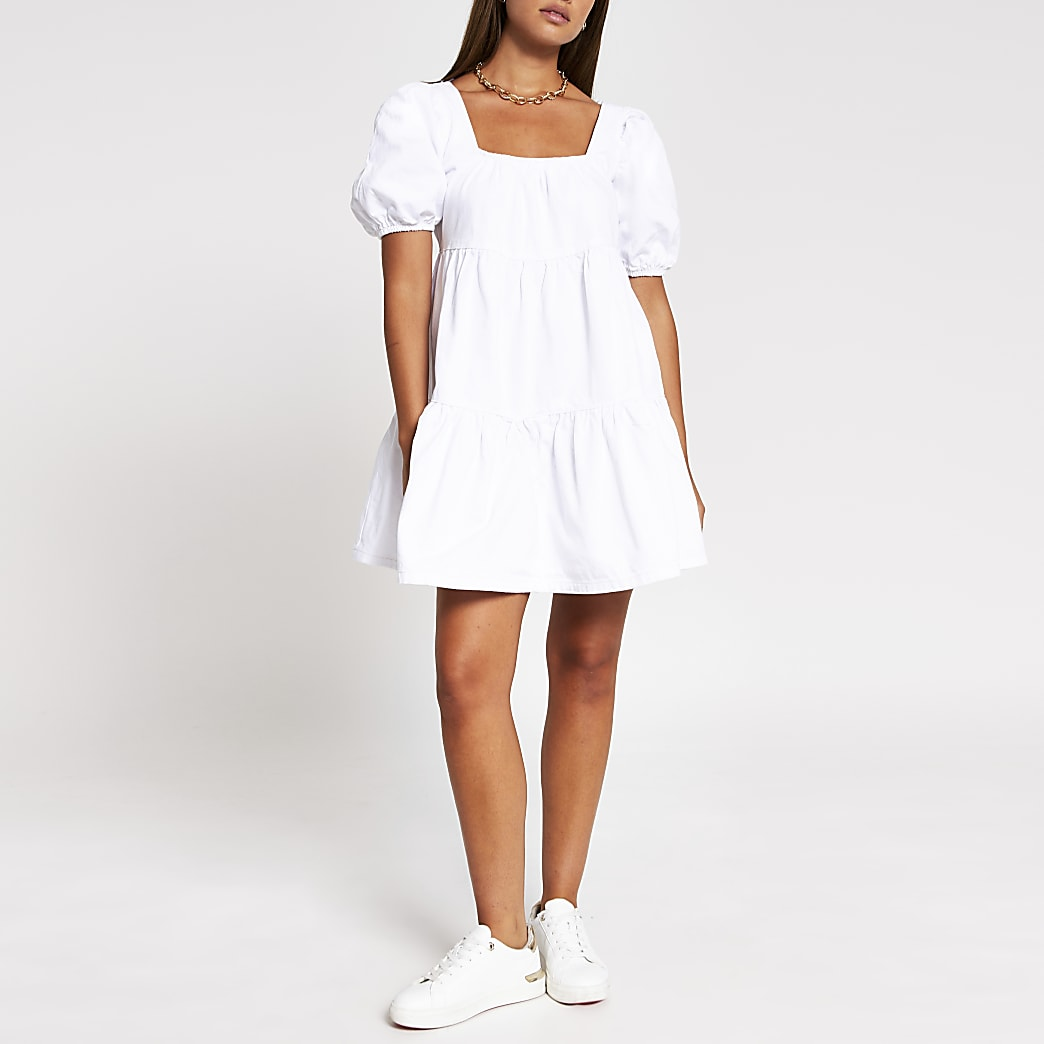 White denim puff sleeve smock Dress