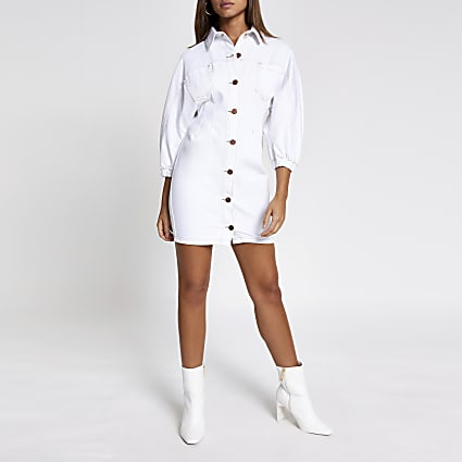 White denim shirt dress