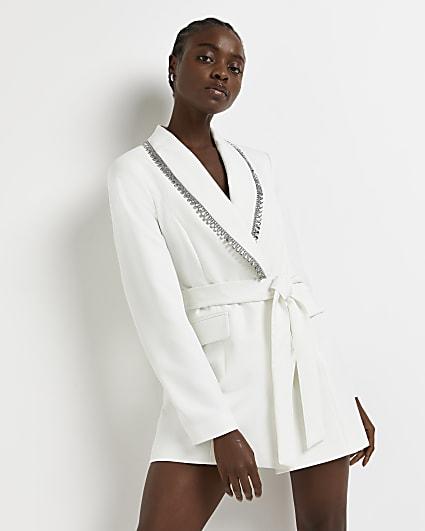 White diamante belted blazer dress