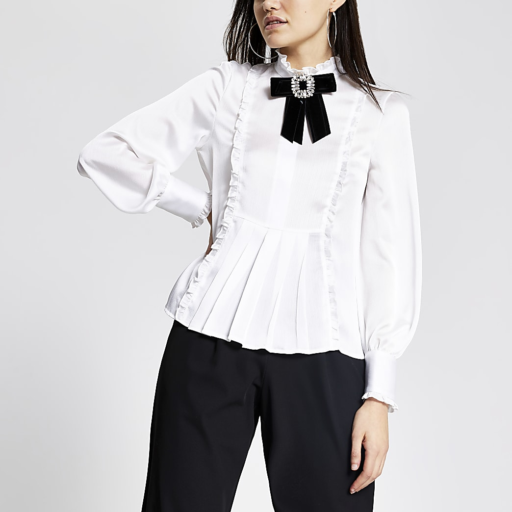 White diamante brooch blouse