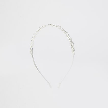 White diamante chain headband
