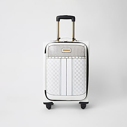 White diamante four wheel suitcase