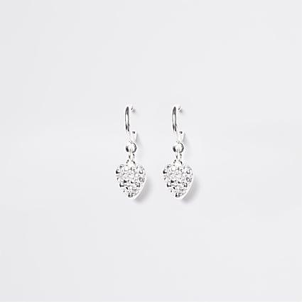 White diamante heart hoops