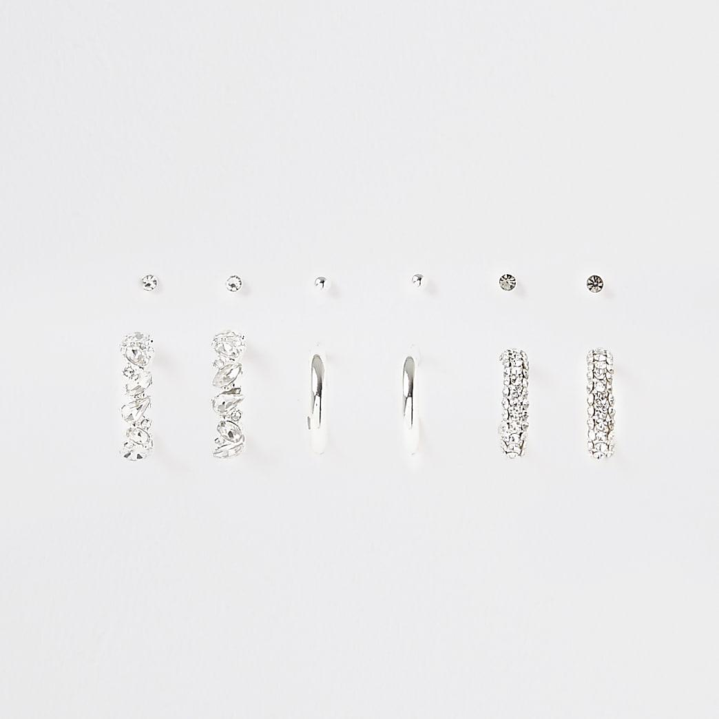 White diamante hoop earrings 6 pack