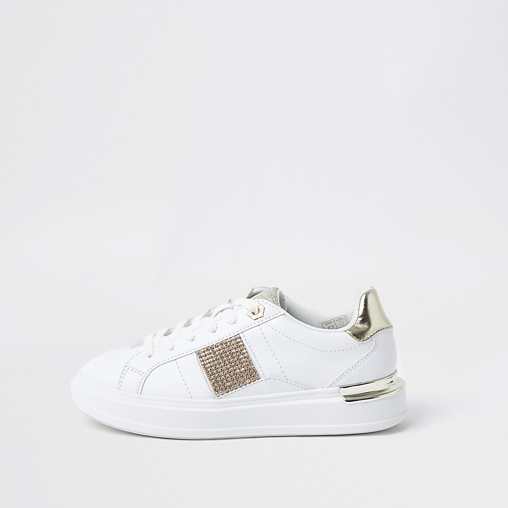 White diamante lace up trainers