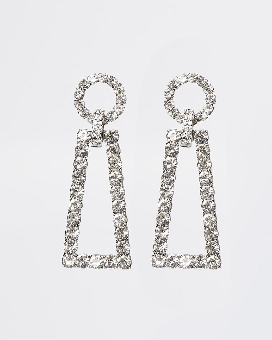 White diamante link drop earrings