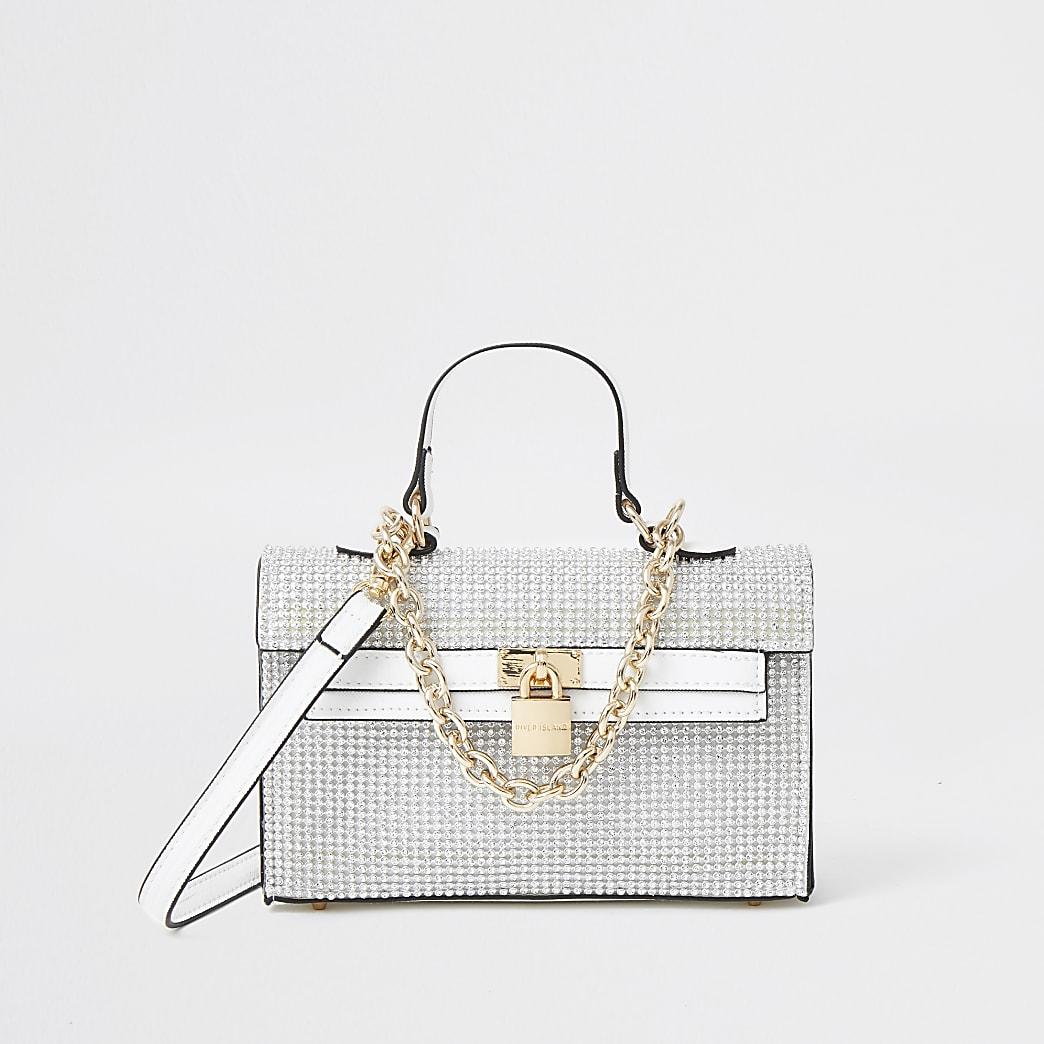 White diamante mini tote bag