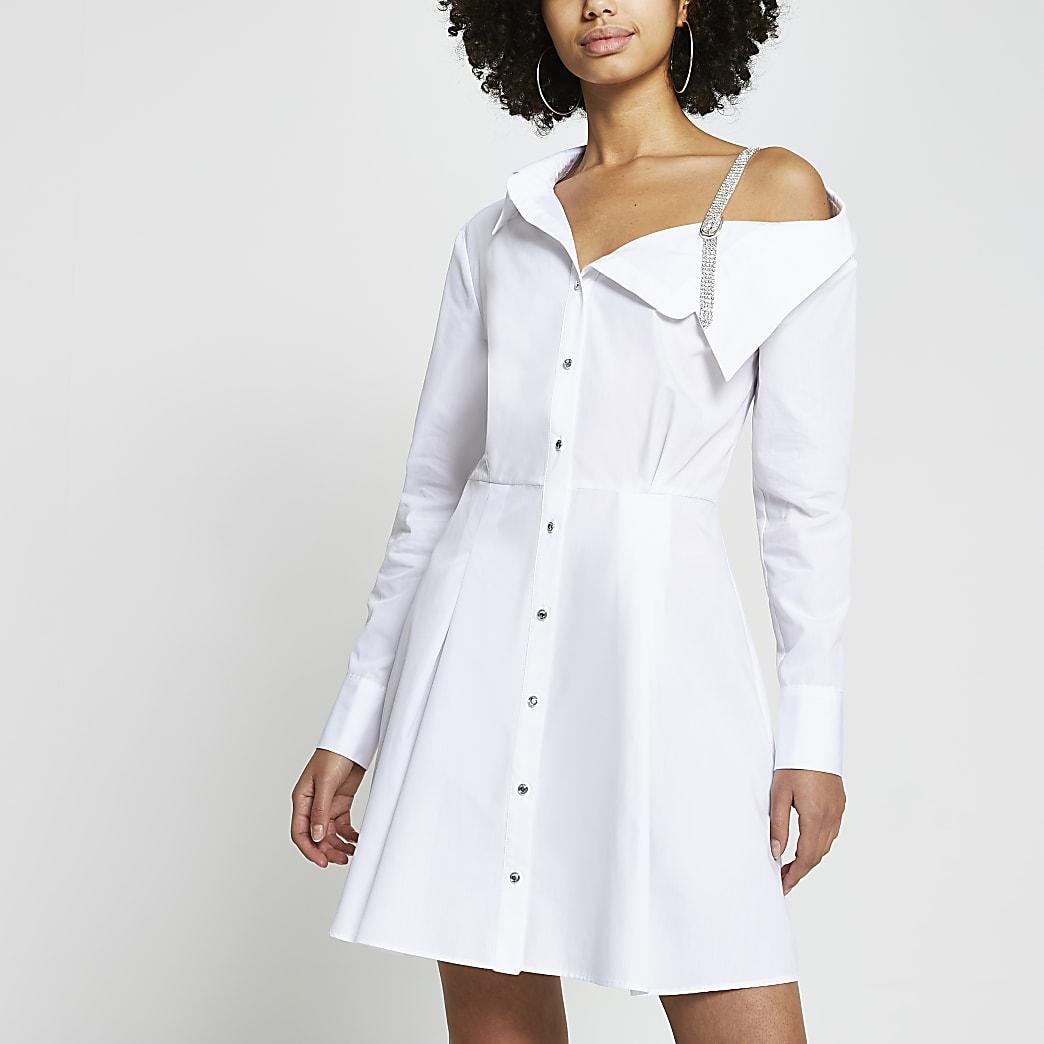 White diamante strap long sleeve shirt dress   River Island