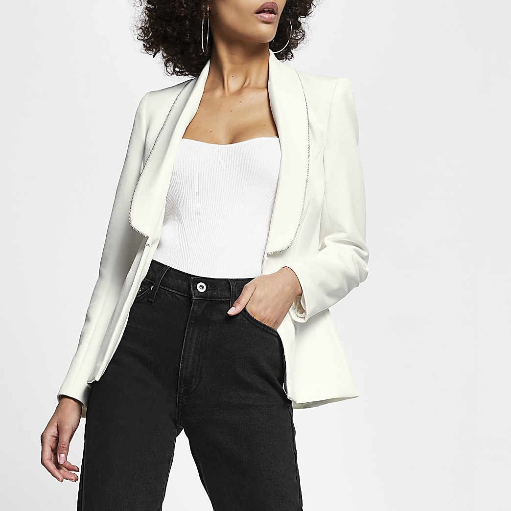 White diamante trim long sleeve blazer