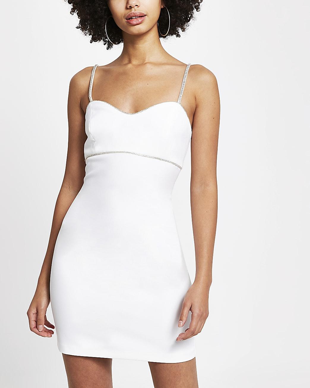 White diamante trim mini bodycon dress