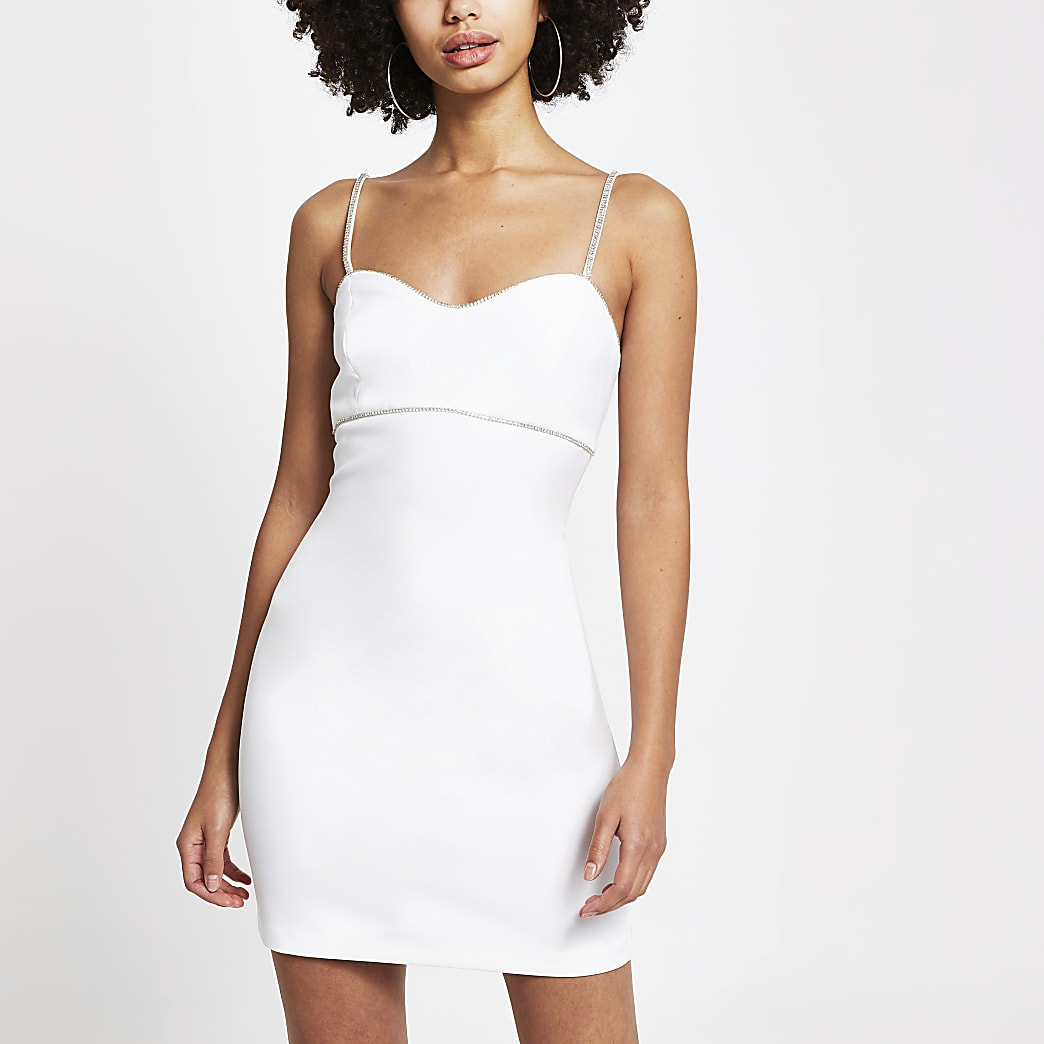 White diamante trim mini bodycon dress