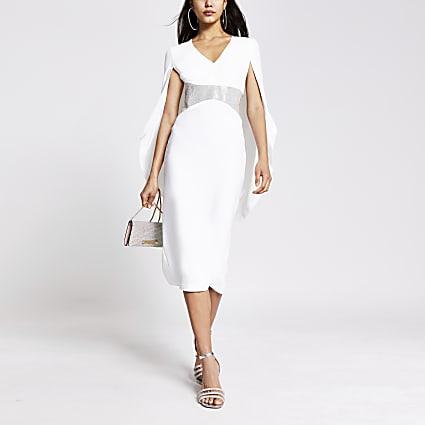 White diamante V neck cape midi dress