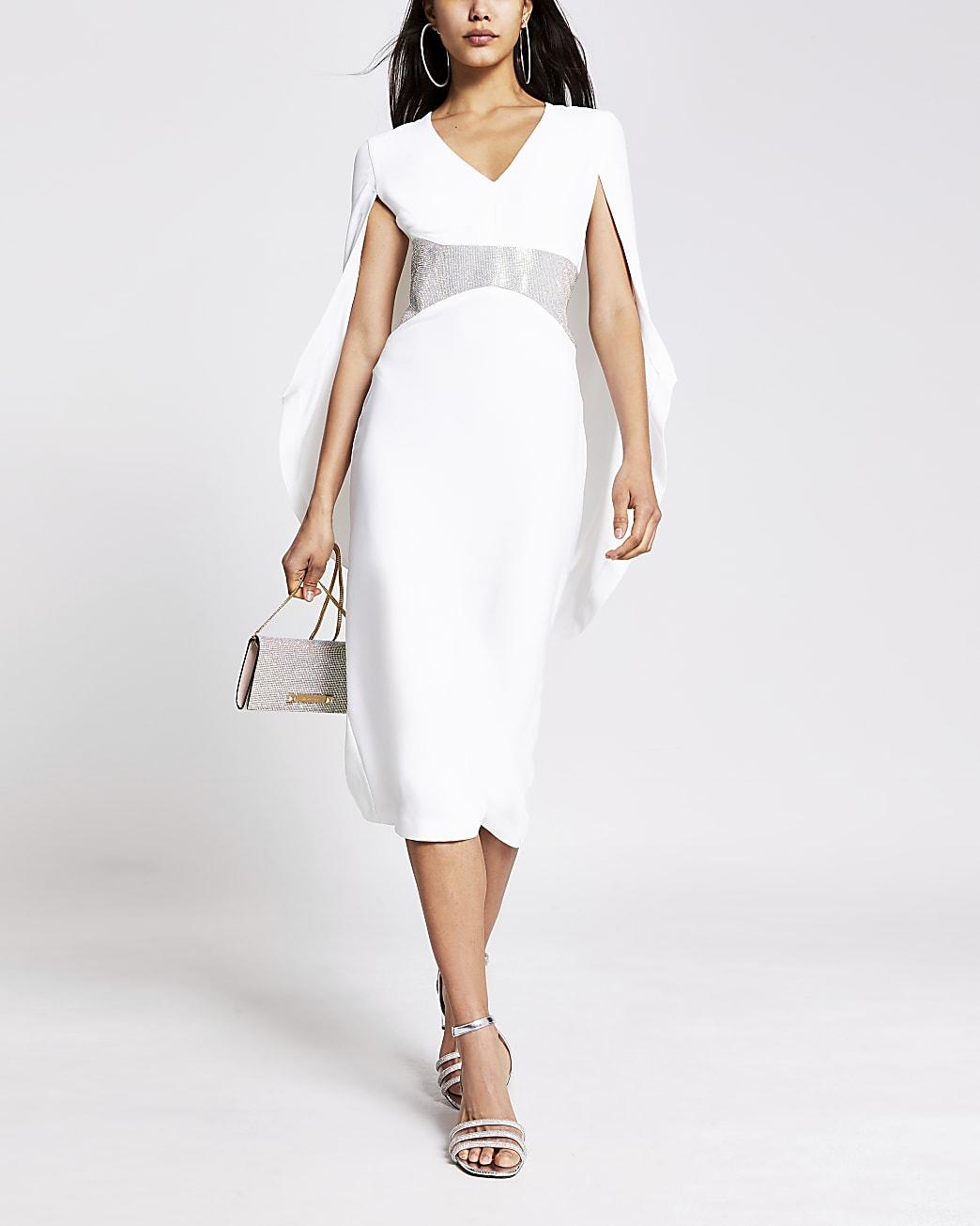 White diamante waist cape detail midi dress