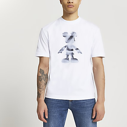 White Disney Mickey Mouse silhouette t-shirt