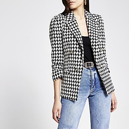 White dogtooth check puff sleeve blazer
