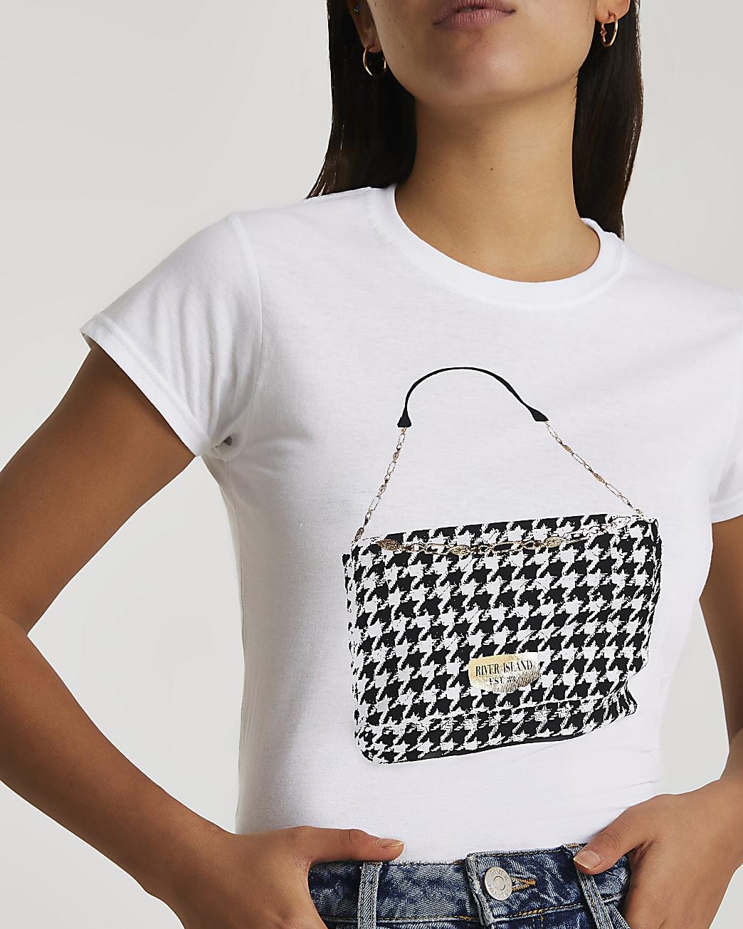 White dogtooth handbag print t-shirt