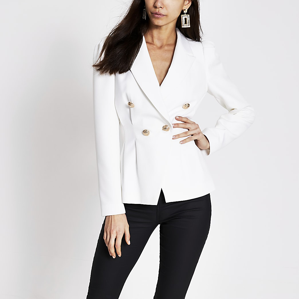 White double breasted pleated waist blazer