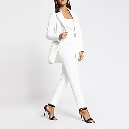 White double button cigarette trousers