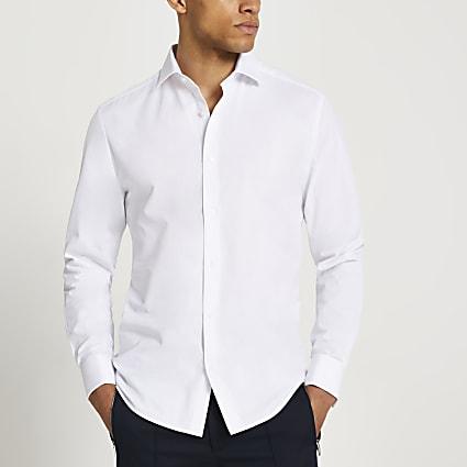White double cuff long sleeve shirt