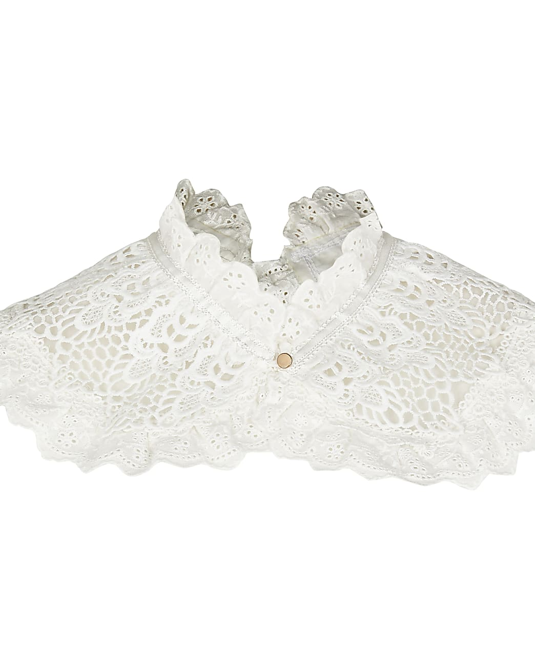 White double layer frill lace collar