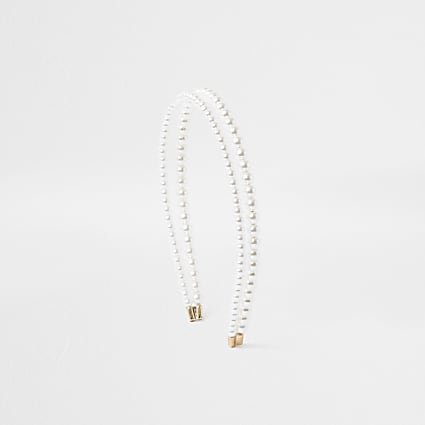 White Double Row Pearl Headband