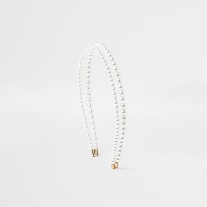 White Double Row Pearl Headband