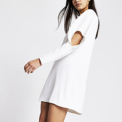 White drape sleeve mini dress