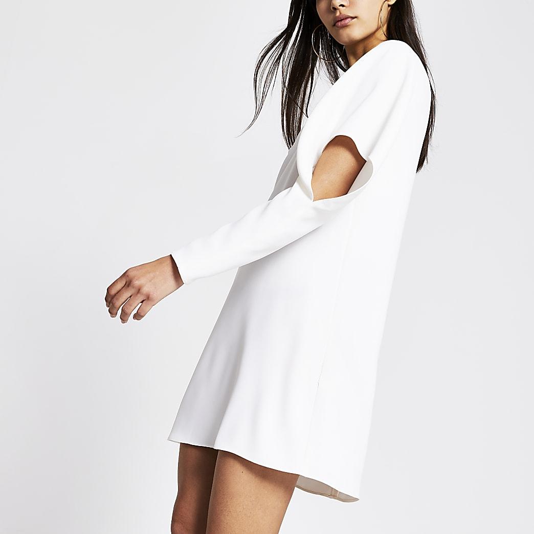 White drape sleeve mini dress