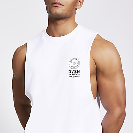 White DVSN print slim fit tank vest