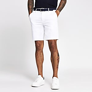 White Dylan slim fit belted shorts