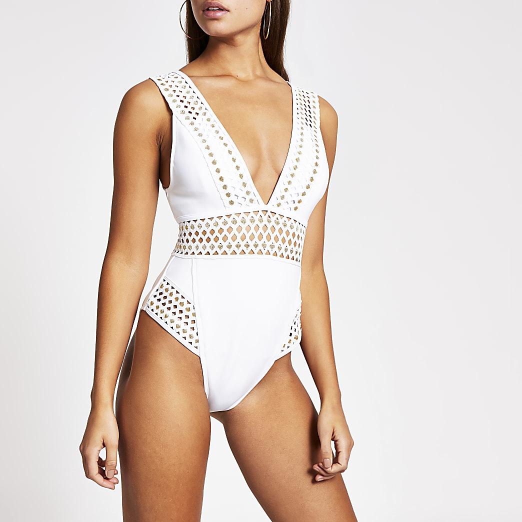 White elasticated plunge neck swimsuit