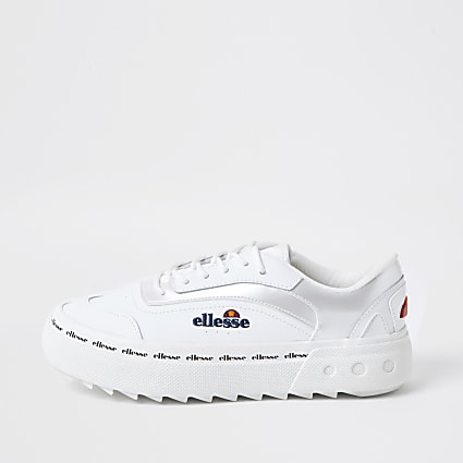 White Ellesse Alzina Lace Up Trainers
