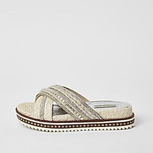 Paillettenverzierte Flatform-Sandalen mit überkreuzten Riemen