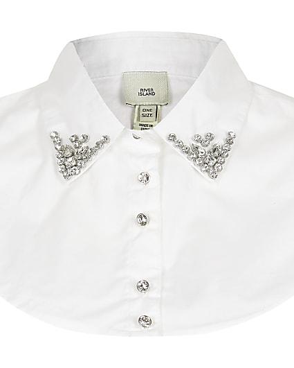 White embellished collar bib