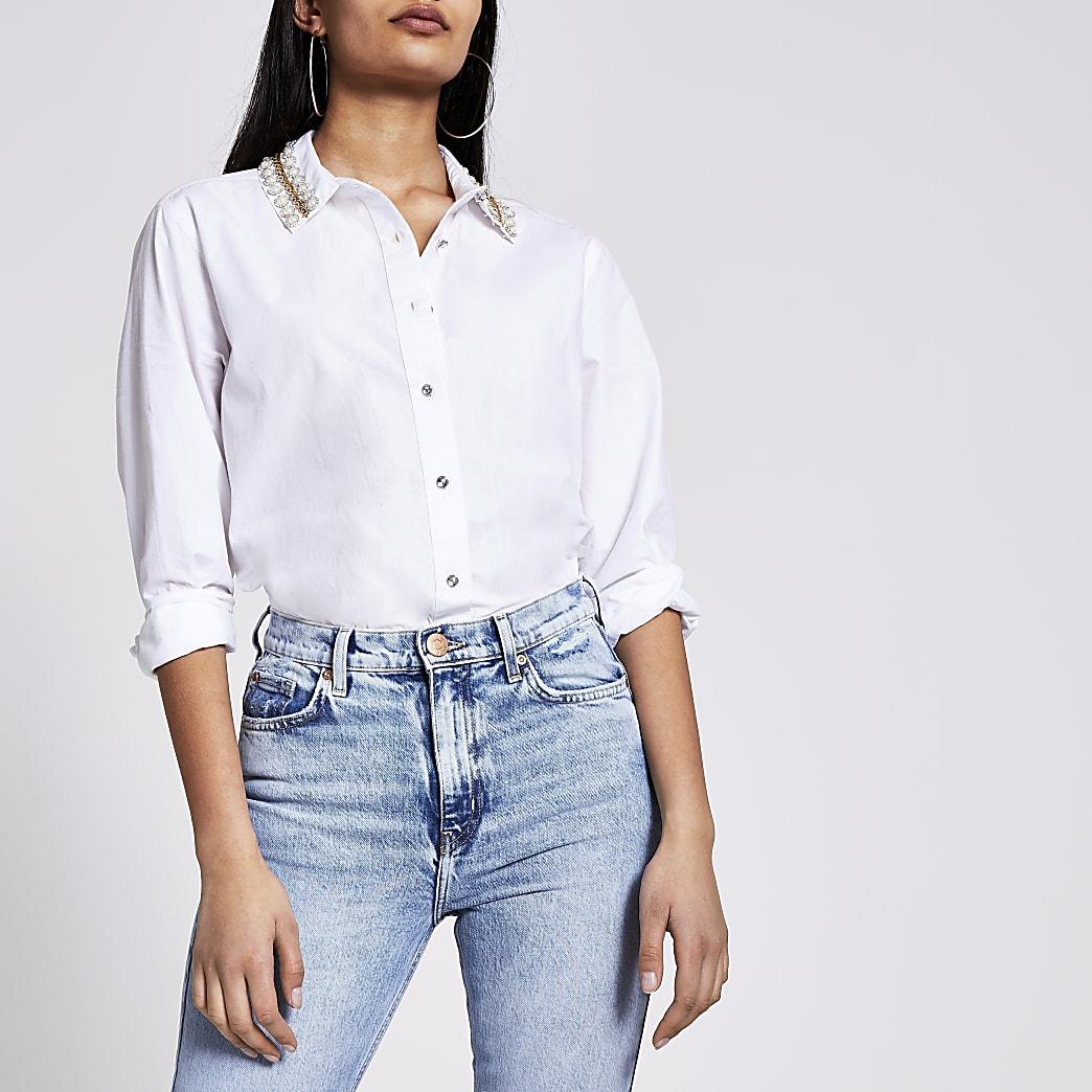 White embellished collar long sleeve shirt