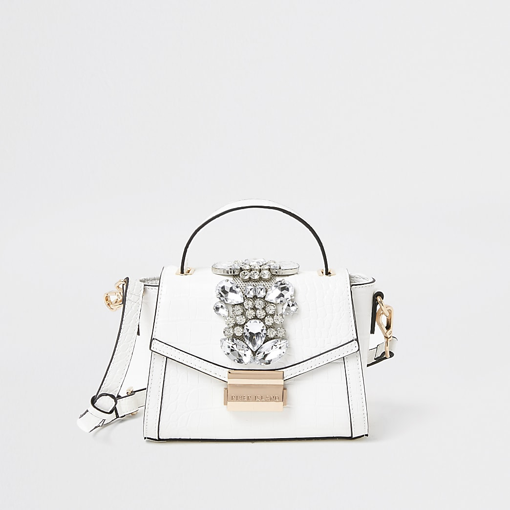White embellished cross body Handbag
