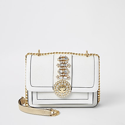 White embellished cross body satchel bag