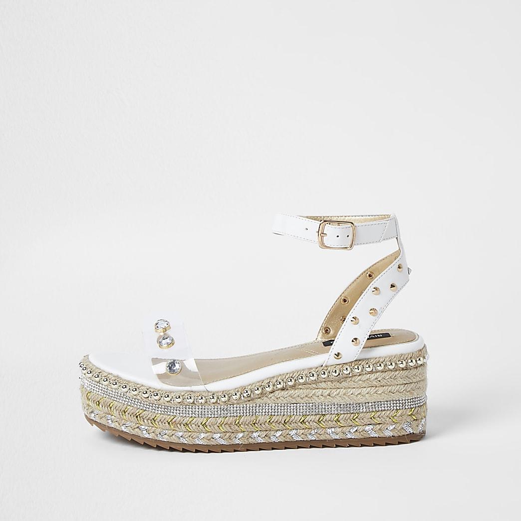 White embellished espadrille flatform sandals