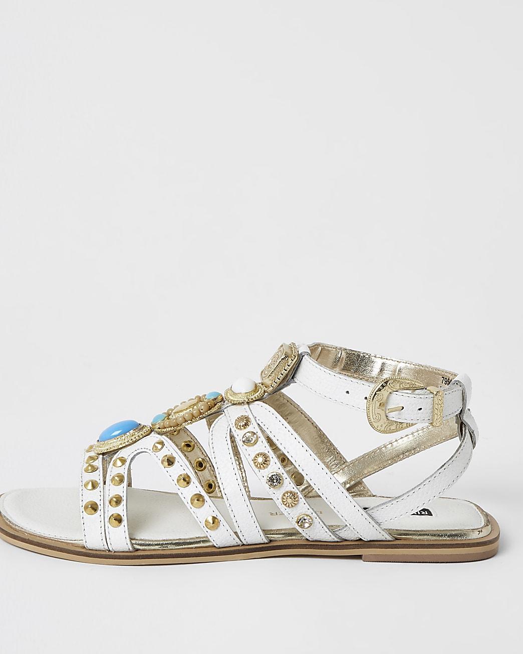 White embellished gladiator sandals