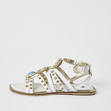 White embellished gladiator sandals
