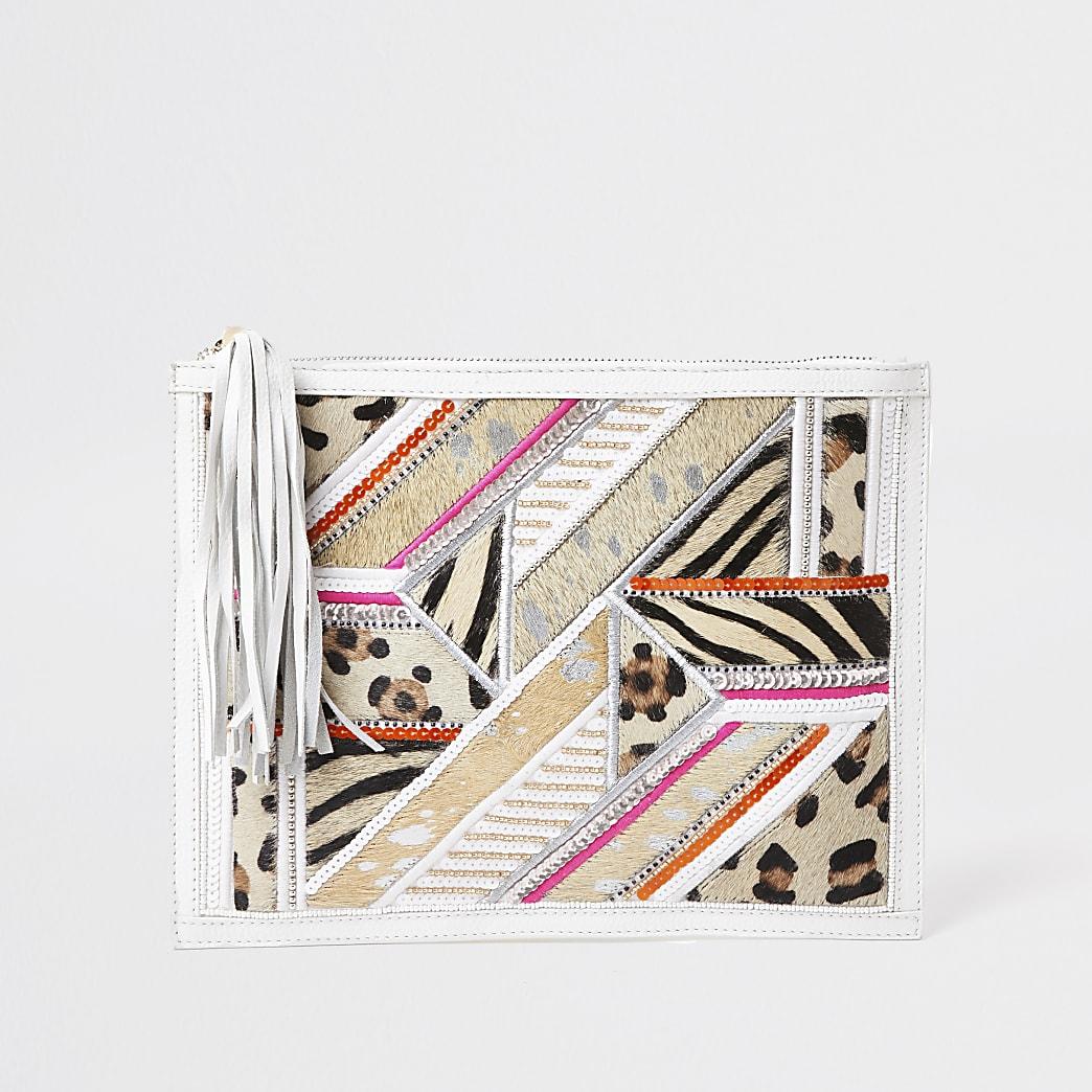 White embellished leather clutch handbag