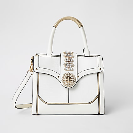 White embellished lock front tote bag