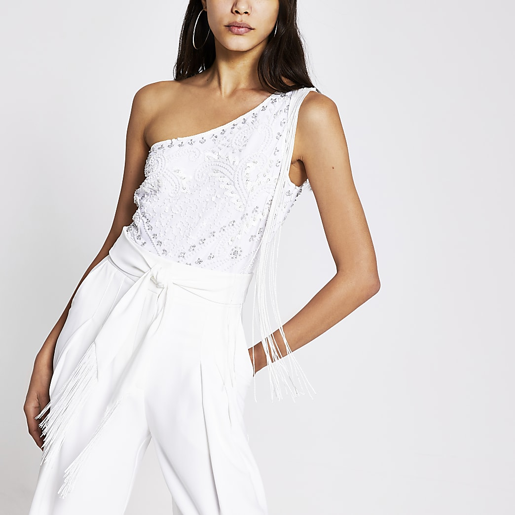 White embellished one shoulder bodysuit