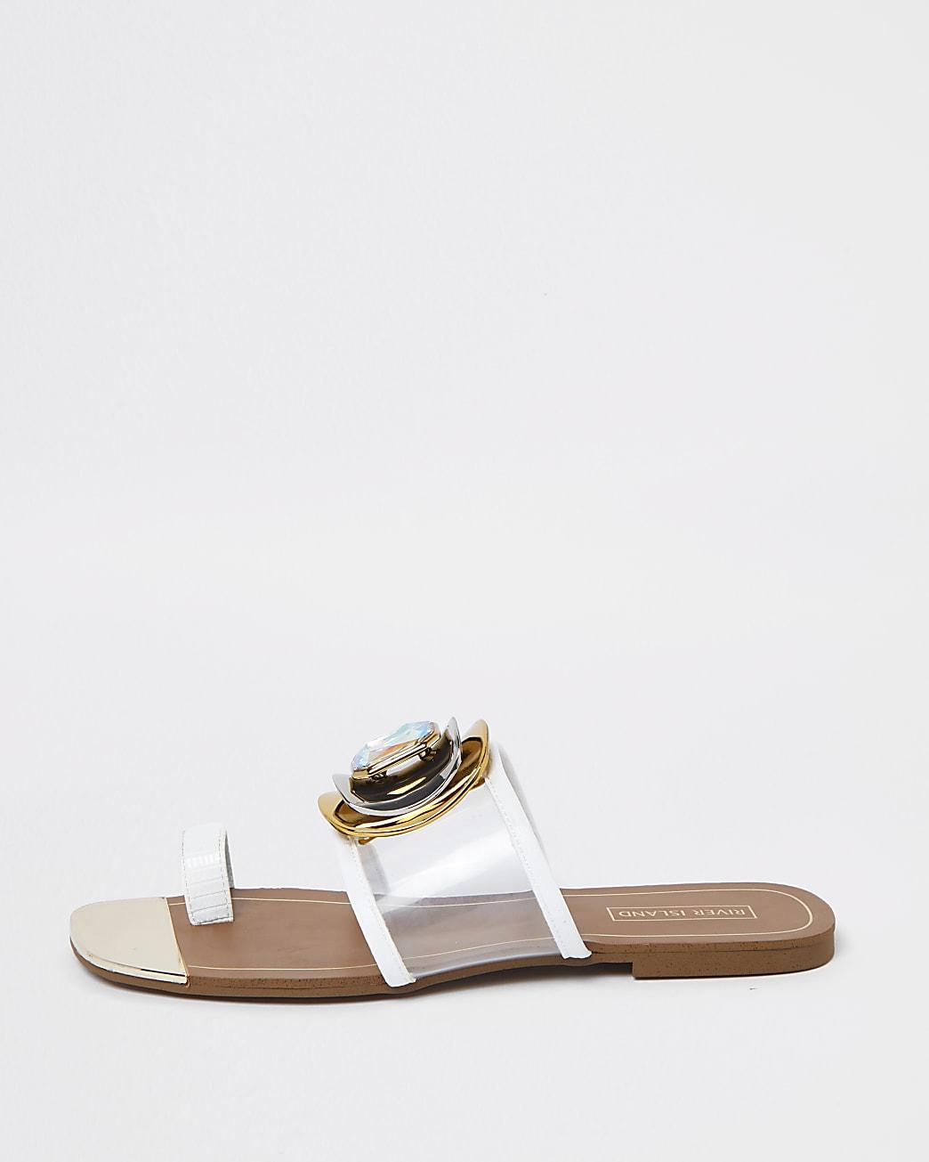 White embellished open toe sandal