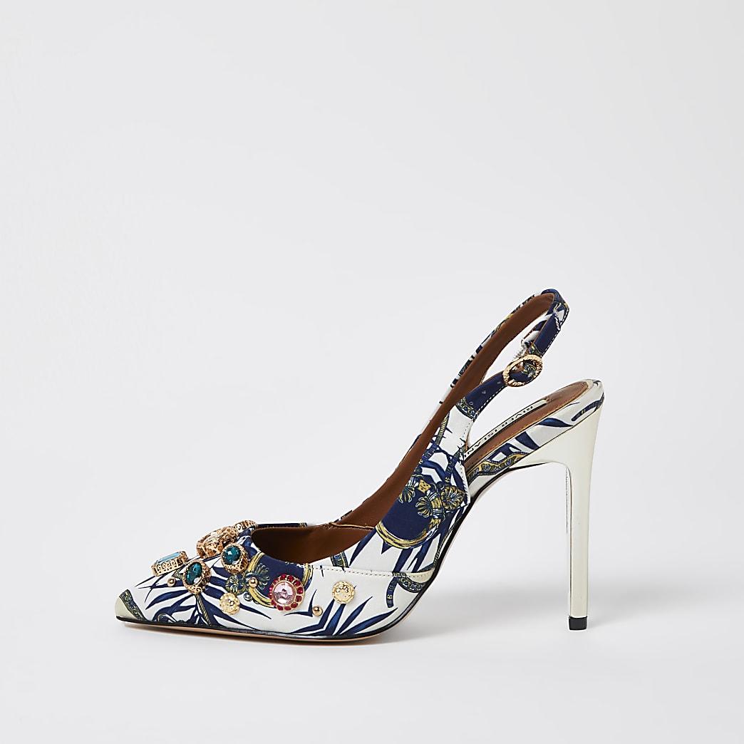 White embellished slingback court shoes