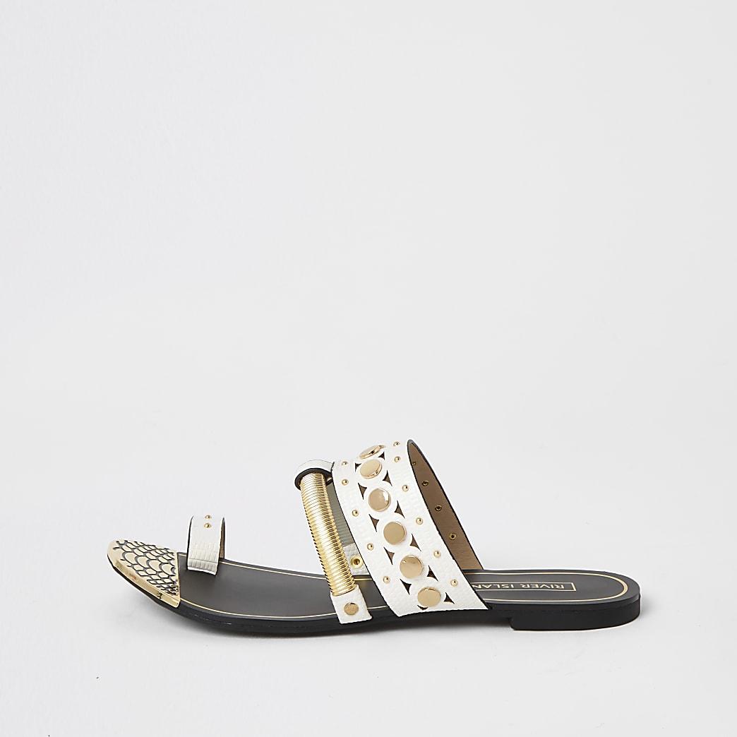 White embellished toe loop sandals