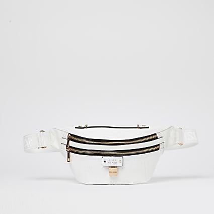 White embossed belt bag